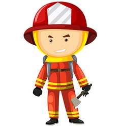 Fire fighter in safety uniform vector