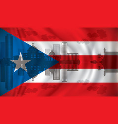 Flag of puerto rico with san juan skyline vector