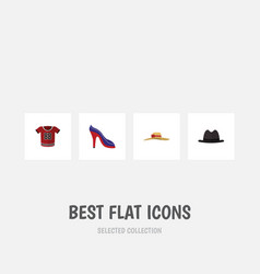 Flat icon garment set of panama heeled shoe vector