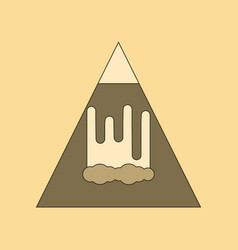 Flat icon on background mountain avalanche vector
