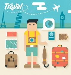 Flat Icons Set of Travel Holiday vector