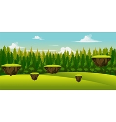 Forest and hill game background vector image