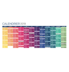 French calendar for year 2019 vector