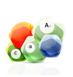glass glossy shiny hexagon web elements vector image