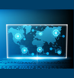 global world map cyber wireless internet line vector image