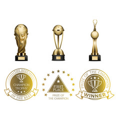 Gold first place prizes set of cups and seals vector