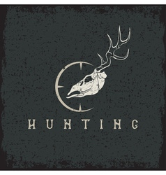 grunge deer skull with target design template vector image