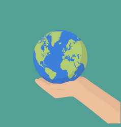 hand with earth globe vector image