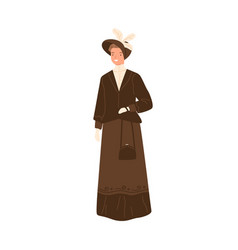 Happy woman standing in daily apparel 1900s vector