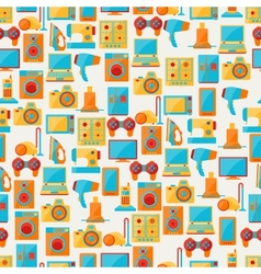 Home appliances and electronics seamless patterns vector image