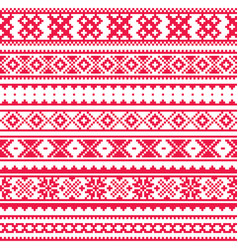 Lapland traditional red folk art design sami vector