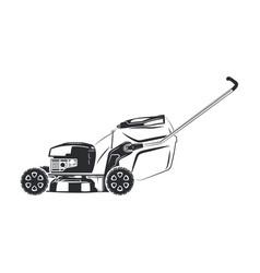 Lawn mower monochrome vector