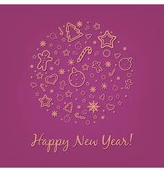 Lilac Happy New Year Card vector image