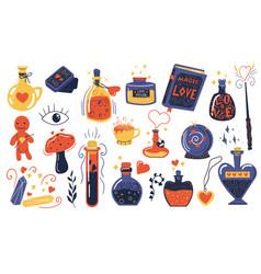 Love potion doodle magical elixir bottles vector
