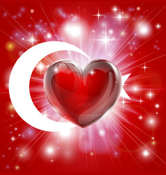 love turkey flag heart background vector image