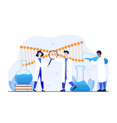male and female scientists working with huge dna vector image