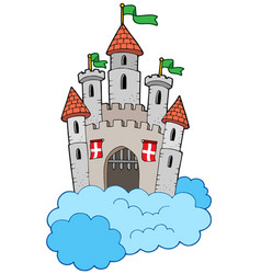 medieval castle on clouds vector image