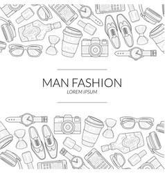 Men fashion banner template with gentleman vector