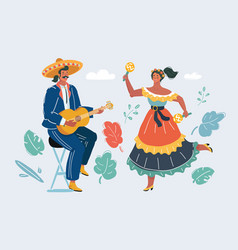 mexican woman and man play guitar and dancing vector image
