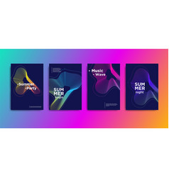 Minimal covers design music wave poster design vector