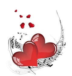 musical valentines day background vector image vector image