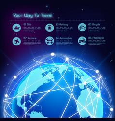 Network travel background vector