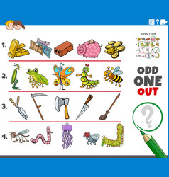 Odd one out picture game with cartoon objects and vector