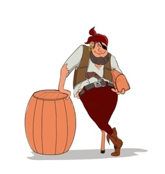 one-eyed and one-legged pirate holding vector image
