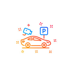 Parking with video monitoring line icon car park vector