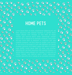 Pet paws concept with place for text vector