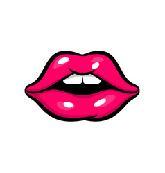 pink red woman lips in pop art style vector image