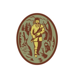 pioneer hunter trapper with rifle vector image