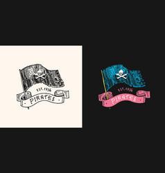 pirate skull flag logo jolly roger or corsair vector image