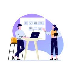 Presentation work schedule on board disscusing vector