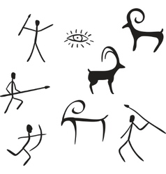 primitive figures looks like cave painting vector image