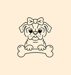 pug icon cartoon face pug-dog with a bow and bone vector image