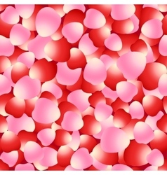 Red and pink rose petals seamless pattern vector image
