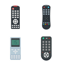 Remote control icons set flat style vector