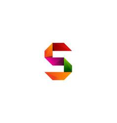 s ribbon letter logo icon design vector image