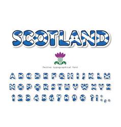 Scotland font scottish national flag colors vector
