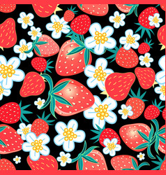 seamless multicolored pattern strawberries vector image