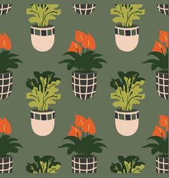 seamless pattern with colorful hand-drawn flower vector image