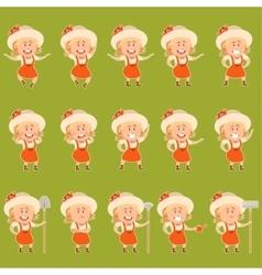 set gardener women flat icons vector image