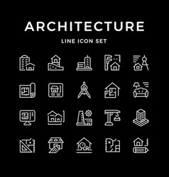 set line icons of architecture vector image