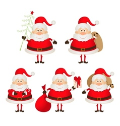 set of cute smiling Santa Claus vector image