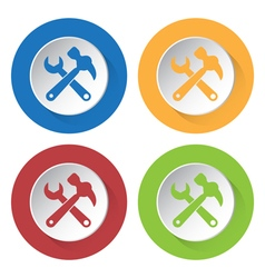 Set of four icons - claw hammer with spanner vector