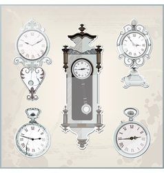 set of many vintage retro clocks vector image vector image