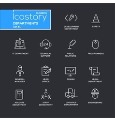Set of office departments line flat design icons vector image