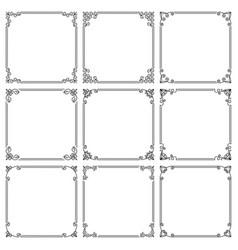 set square frames with elegant floral ornament vector image