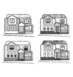 Sketch collection of village buildings vector image